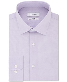 Calvin Klein Men's Steel Classic/Regular-Fit Stretch Performance Non-Iron Purple Check Dress Shirt