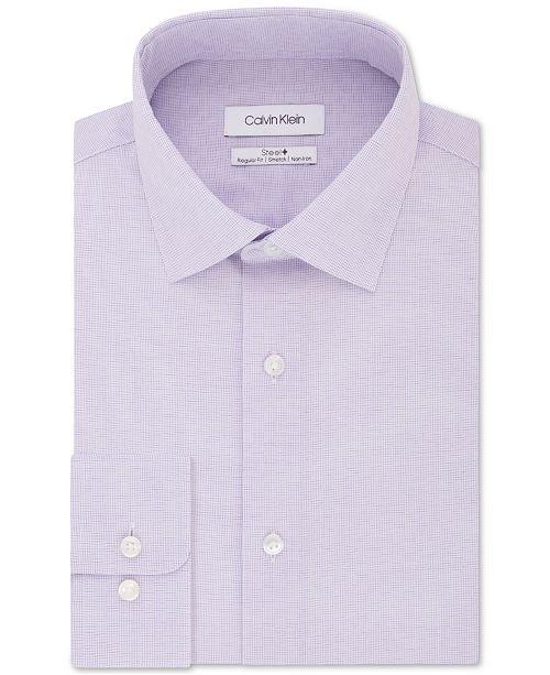 Calvin Klein Calvin Klein Men's Steel Classic/Regular-Fit Stretch Performance Non-Iron Purple Check Dress Shirt