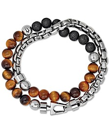 Men's Tiger's Eye & Black Lava Bead Bracelet in Stainless Steel
