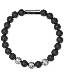 Men's Black Onyx Bead Bracelet in Stainless Steel