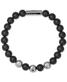 Bulova Men's Black Onyx Bead Bracelet in Stainless Steel
