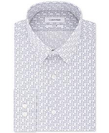 Calvin Klein Men's Steel Slim-Fit Stretch Performance Non-Iron Gray Dot-Print Dress Shirt