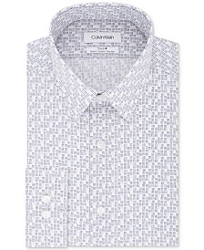 Calvin Klein Men's Steel Slim-Fit Stretch Performance Non-Iron Gray Dot-Print Dress Shirt