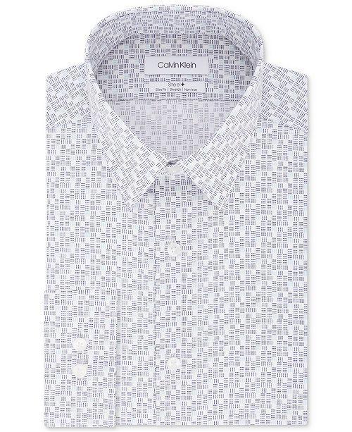 Calvin Klein Calvin Klein Men's Steel Slim-Fit Stretch Performance Non-Iron Gray Dot-Print Dress Shirt