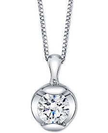 "Sirena Diamond Solitaire 18"" Pendant Necklace (5/8 ct. t.w.) in 14k White Gold"