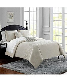 Lucerne Cotton Chambray Embroidered 3Pc Queen Comforter Set