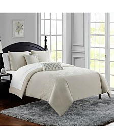Waterford Lucerne Cotton Chambray Embroidered 3Pc Queen Comforter Set