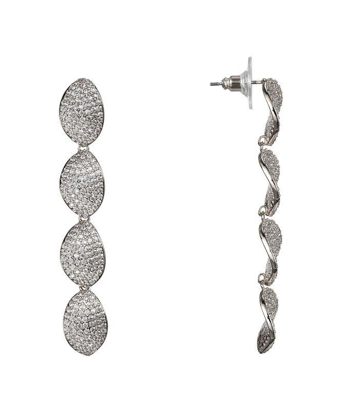 Nina Jewlry Linear Cubic Zirconia Petal Drop Earrings