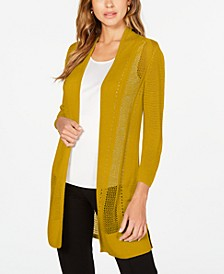 Long Mixed-Stitch Completer Cardigan, Created for Macy's