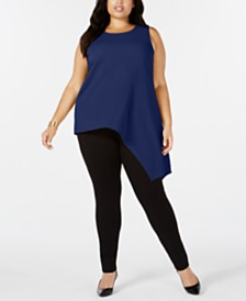 Alfani Plus Size Asymmetrical Tank Top, Created for Macy's