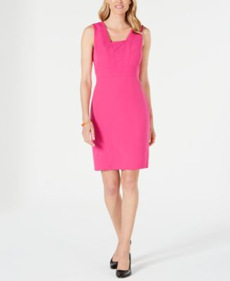 Square-Collar Stretch-Crepe Dress