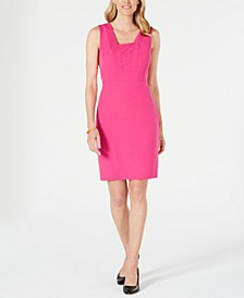 Square-Collar Stretch-Crepe Dress
