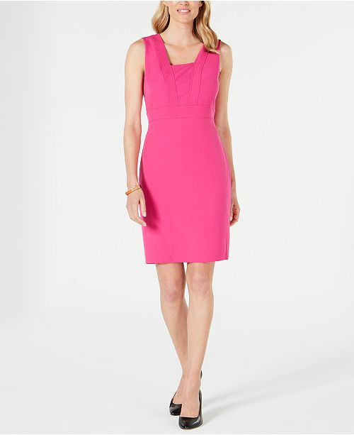 Kasper Petite Square-Collar Crepe Dress