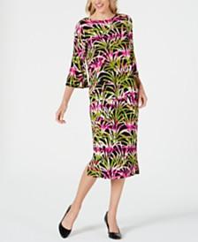Kasper Tropical-Print Flounce-Sleeve Top & Tropical-Print Skirt