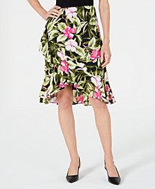Kasper Ruffled Floral-Print Skirt