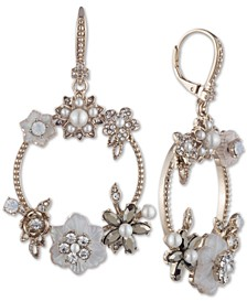 Gold-Tone Crystal & Imitation Mother-of-Pearl Flower Circle Drop Earrings