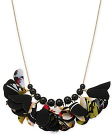 "I.N.C. Gold-Tone Bead and Fabric Flower Statement Necklace, 17"" + 3"" extender, Created for Macy's"