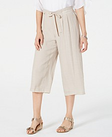 Tie-Front Textured Capri Pants, Created for Macy's
