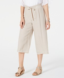 JM Collection Tie-Front Textured Capri Pants, Created for Macy's
