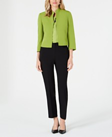 Kasper Petite Stand-Collar Jacket, V-Neck Printed Top & Straight-Leg Pants