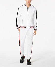 Men's Chaser Faux-Leather Pieced Track Jacket, Created for Macy's