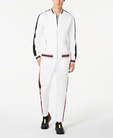 I.N.C. International Concepts Men's Chaser Faux-Leather Pieced Track Jacket, Created for Macy's