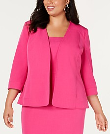 Kasper  Plus Size Open-Front Jacket