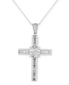 "Cubic Zirconia 18"" Cross Pendant Necklace in Sterling Silver"