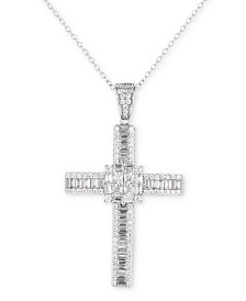 "Tiara Cubic Zirconia 18"" Cross Pendant Necklace in Sterling Silver"