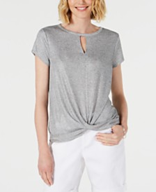 I.N.C. Shine Twist-Front T-Shirt, Created for Macy's