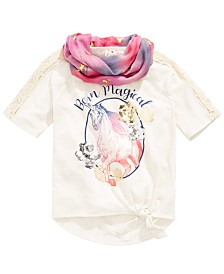 Belle Du Jour Big Girls 2-Pc. Scarf & Magical-Print Top Set
