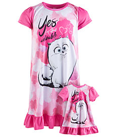 AME Little & Big Girls 2-Pc. Graphic-Print Nightgown Set