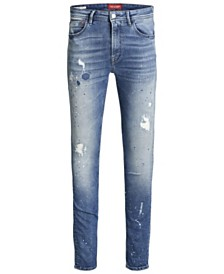 Jack and Jones Men's Skinny Fit Blue Liam Jeans With Paint Splatter