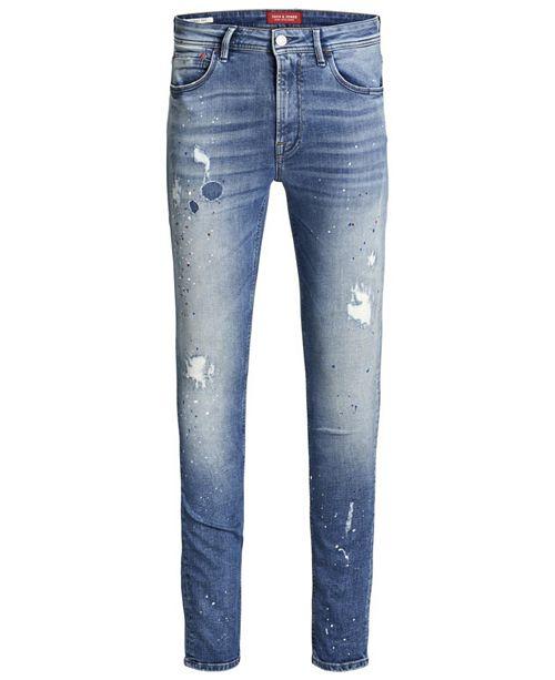 Jack & Jones Jack and Jones Men's Skinny Fit Blue Liam Jeans With Paint Splatter