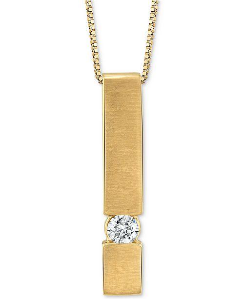 "Macy's Diamond Bar 18"" Pendant Necklace (1/10 ct. t.w.) in 14k Gold"