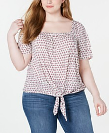 Lucky Brand Plus Size Printed Tie-Front Top
