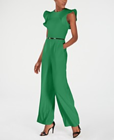 Calvin Klein Belted Ruffle-Sleeve Jumpsuit, Regular & Petite Sizes