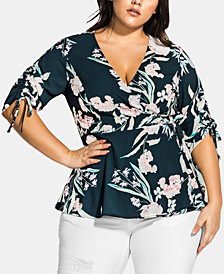 City Chic Trendy Plus Size Fresh Fields Top