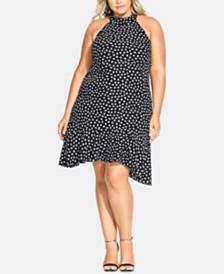City Chic Trendy Plus Size Dot-Print Ruffle-Hem Halter Dress
