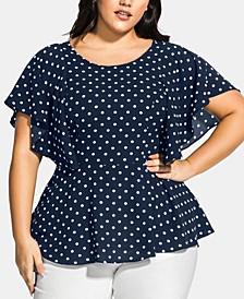 Trendy Plus Size Dot-Print High-Low Top