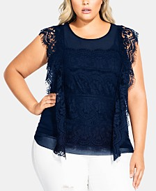 City Chic Trendy Plus Size Lace Overlay Top