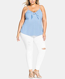 Trendy Plus Size Cheeky Bow Top