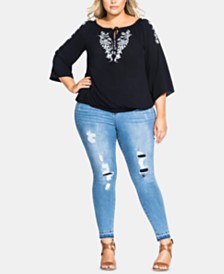 City Chic Trendy Plus Size Fleur Detail Top