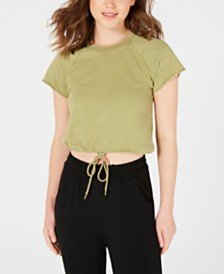 Material Girl Juniors' Drawstring Crop Top, Created for Macy's