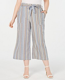 Trendy Plus Size Cotton Cropped Wide-Leg Pants