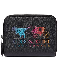 COACH Rexy And Carriage Small Zip Around Leather Wallet