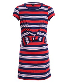 Little Girls Striped Tie-Front Dress