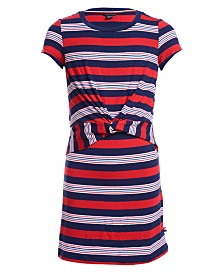 Tommy Hilfiger Big Girls Striped Twist-Front Dress