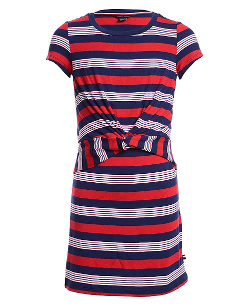 Tommy Hilfiger Toddler Girls Striped Twist-Front Dress