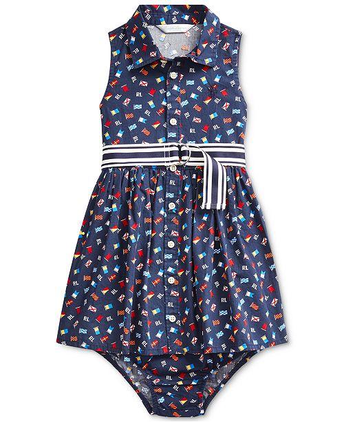 Polo Ralph Lauren Baby Girls Cotton Poplin Pattern Dress